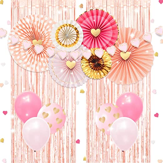 NICROLANDEE Decoraciones de despedida de soltera, cortinas de flecos de papel de oro rosa Ventiladores de papel de oro rosa para bodas Cumpleaños ...