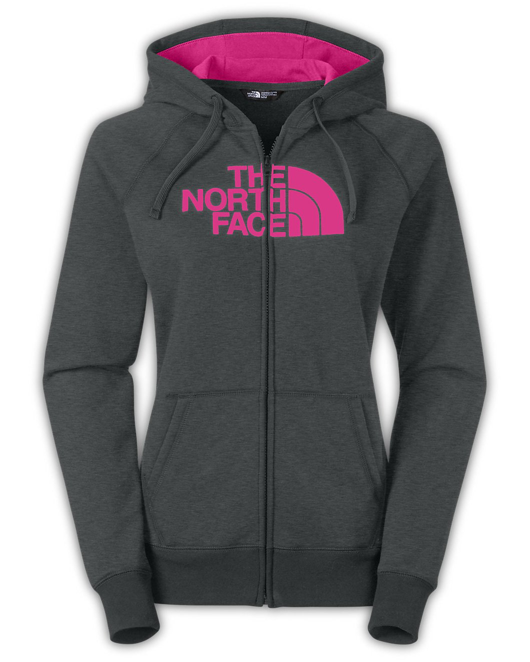 The North Face Half Dome Full Zip Hoodie Women's TNF Dark Grey Heather/Raspberry Rose S