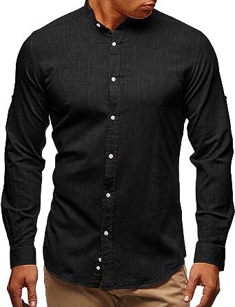 079110acab0c EastLife Mens Plus Size Linen Hippie Shirts Summer Short Sleeve Button up T- Shirt (