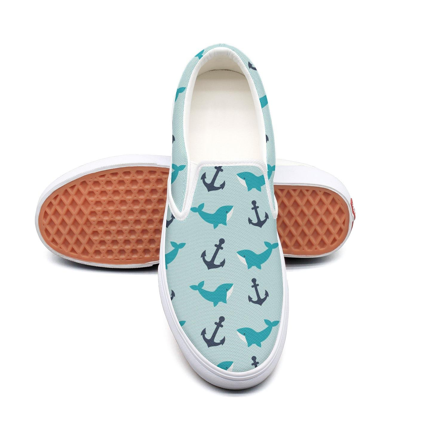 anchor whale pattern slip on Rubber Sole loafers canvas shoes for women Fashion