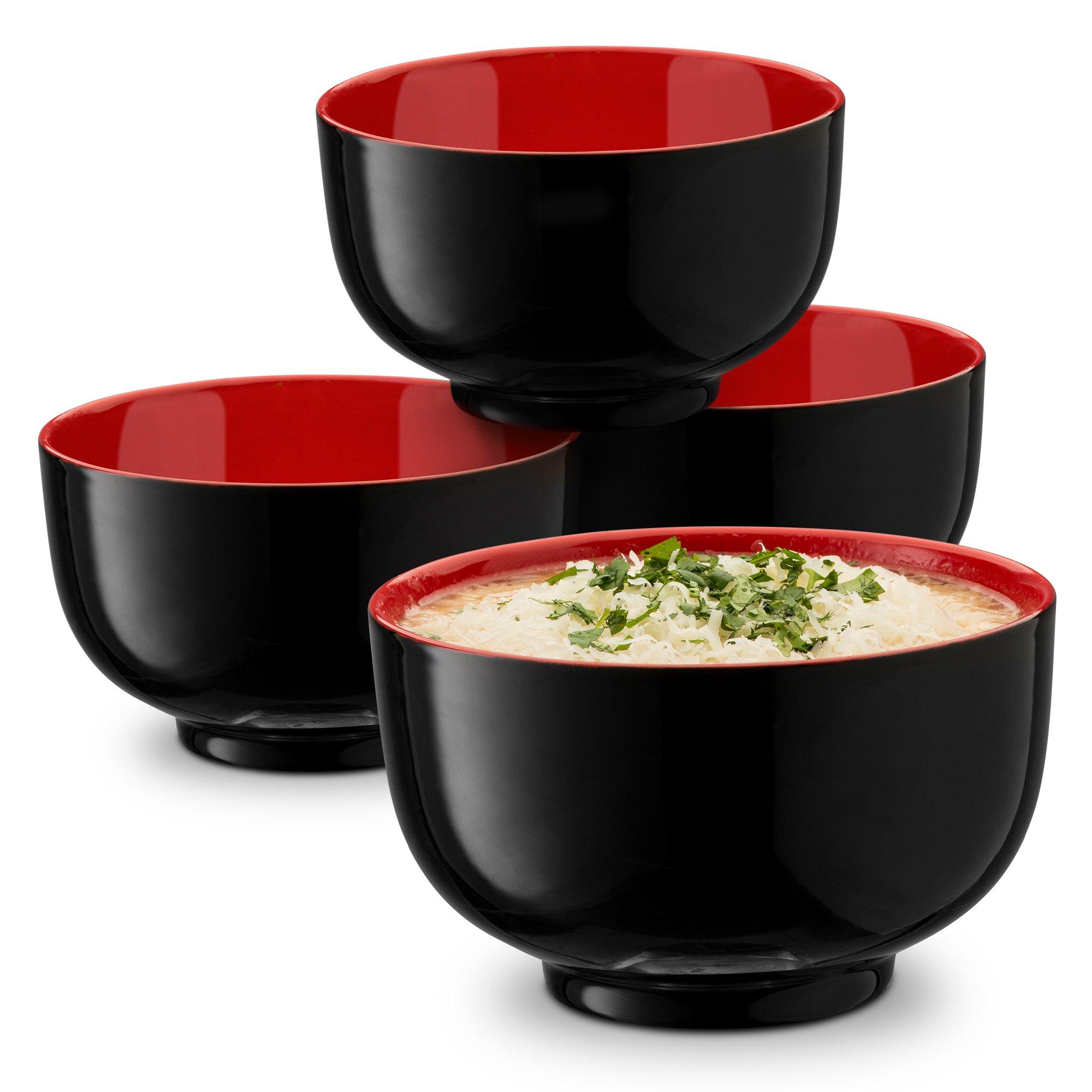 KooK Japanese Ceramic Noodle Bowl, Deep Interior, Black and Red, 38oz, Set of 4