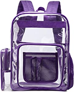 Clear Backpack, F-color Large Size Clear Backpack with Laptop Compartment, See Through Heavy Duty Clear Plastic Backpack for School, Stadium, Security, Sporting Events, Adults, Boys, Girls, Purple