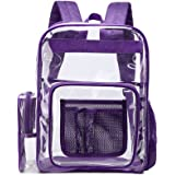 Clear Backpack, F-color Large Size Clear Backpack with Laptop Compartment, See Through Heavy Duty Clear Plastic Backpack…