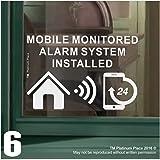 6x Funda para sistema de alarma monitoreado instalado stickers-130mm blanco sobre claro interior ventana appllication-24hr señales de advertencia de seguridad para el hogar, casa, plano, Business, property-self vinilo adhesivo