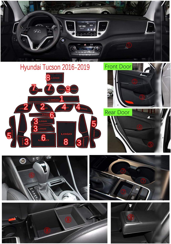 YEE PIN Door Slot Pad Rubber Mats Compatible with Hyundai Tucson TL 2016-2019 Car Interior Accessories Water Cup Storage Box Non Slip Mat