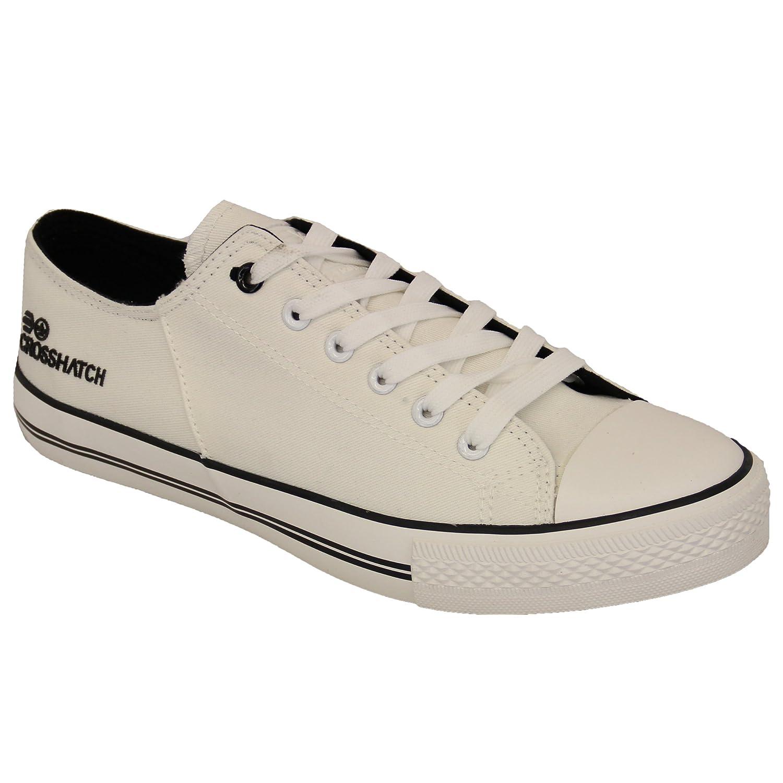uomo basse di tela Suola in gomma Crosshatch Scarpe sportive con lacci scarpe da ginnastica Scarpe Casual Nuovo - Grigio m7zbcI95y