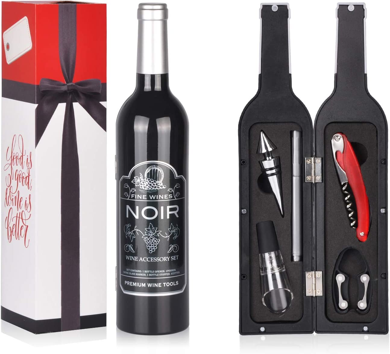 Wine Accessory Gift Set - Deluxe Wine Bottle Corkscrew Opener, Stopper, Aerator Pourer, Foil Cutter, Glass Paint Marker w/Reusable Drink Stickers in Gift Box, Wine Gifts for Wine Lover, Christmas