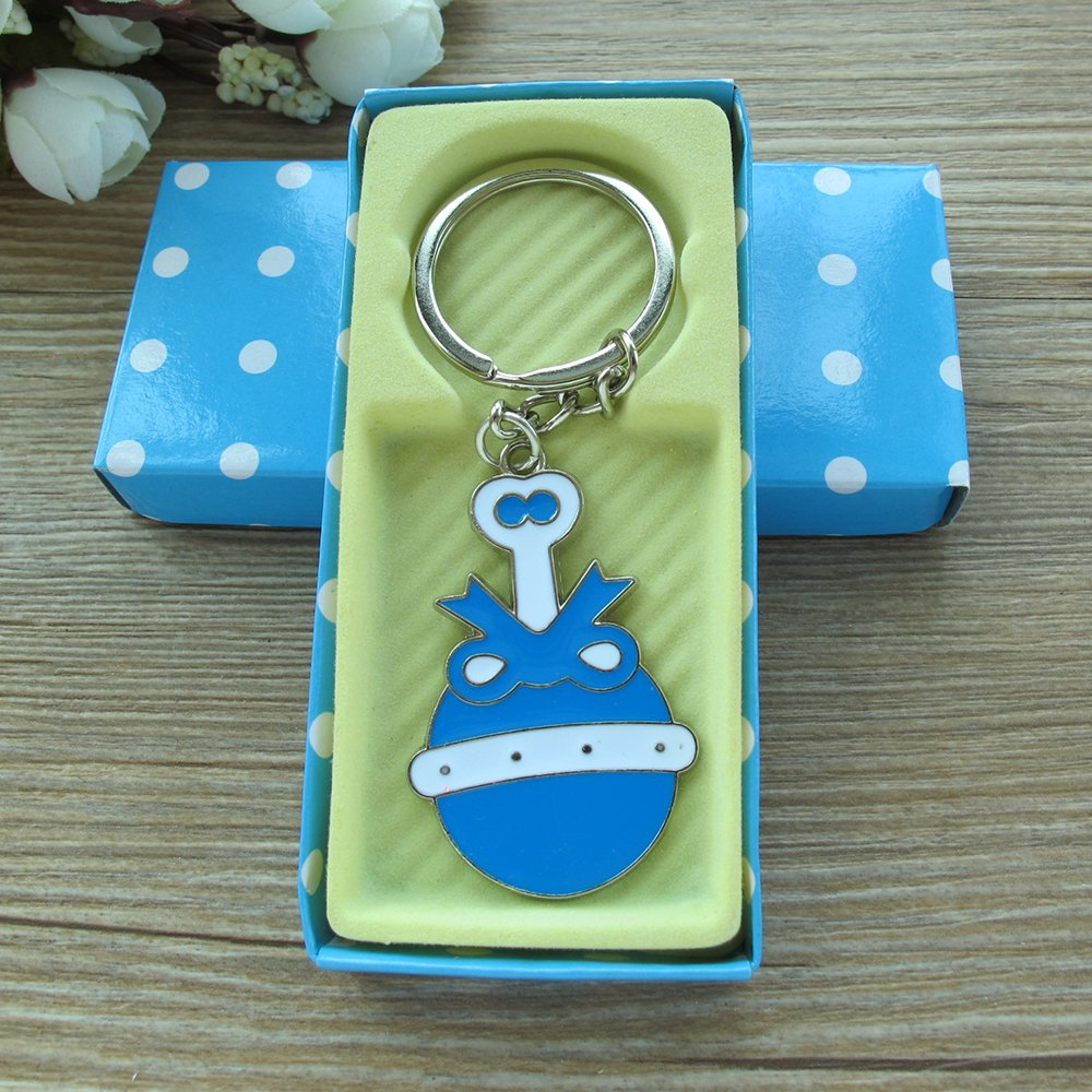 Baby Boy Shower Rattle Keychain Favor Blue 12PCS/ Birthday Party Gift for Guest/Sonaja Llavero Table Decoration