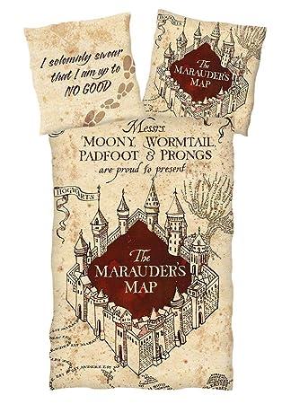 Harry Potter Karte Des Rumtreibers Spruch.Harry Potter Bettwäsche Marauder S Map Wendemotiv Single