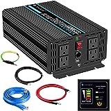 Novopal Pure Sine Wave Power Inverter 1000 Watt 12V DC to 110V/120V AC Converter 4 AC Outlets Car Inverter with One USB Port