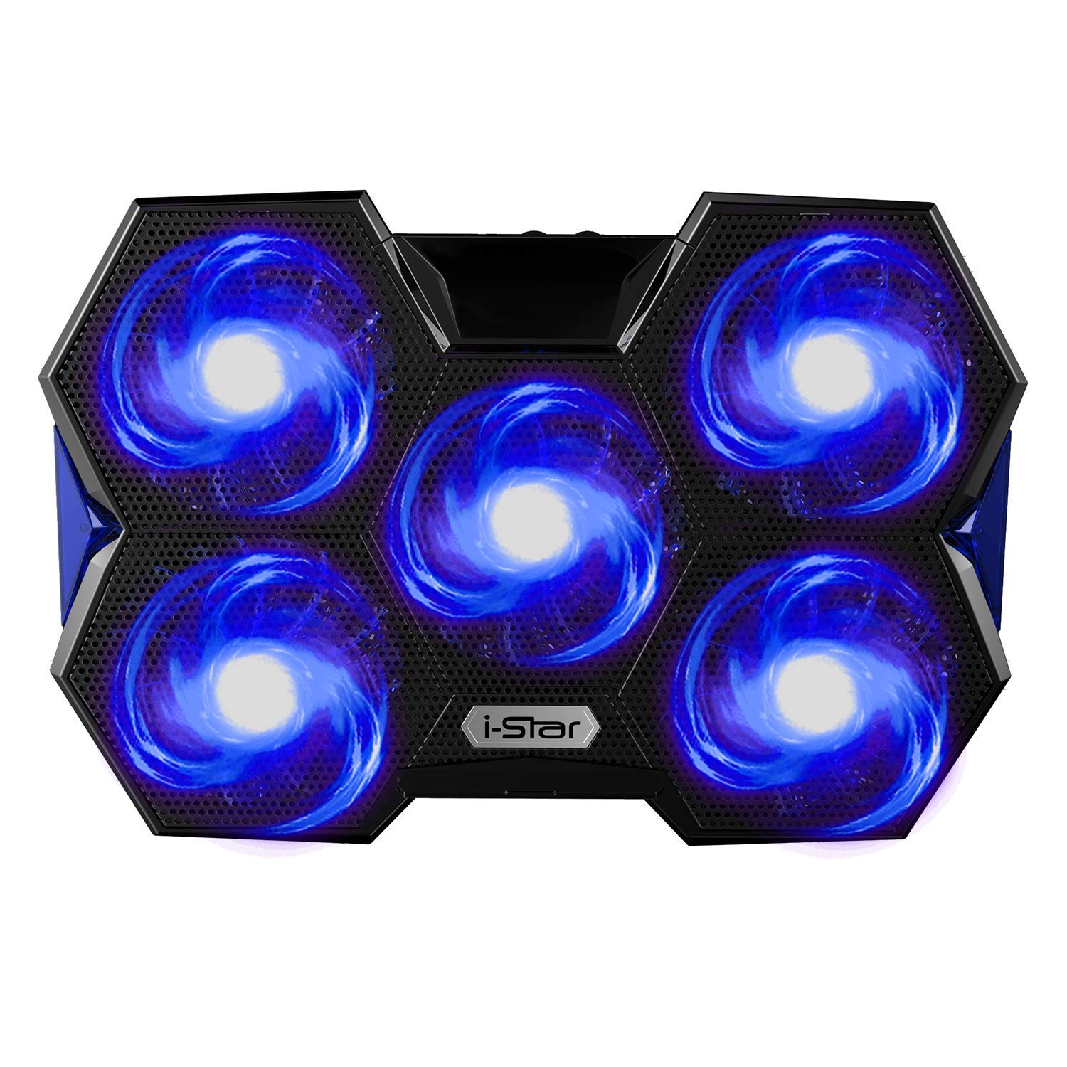 i-Star Laptop Cooling Pad Adjustable Stand - Gaming Notebook Cooler with Metal Mesh 5 Silent Rotatable Fans 2 USB Ports and LED Light Fits 12''-17'' Laptop, Blue