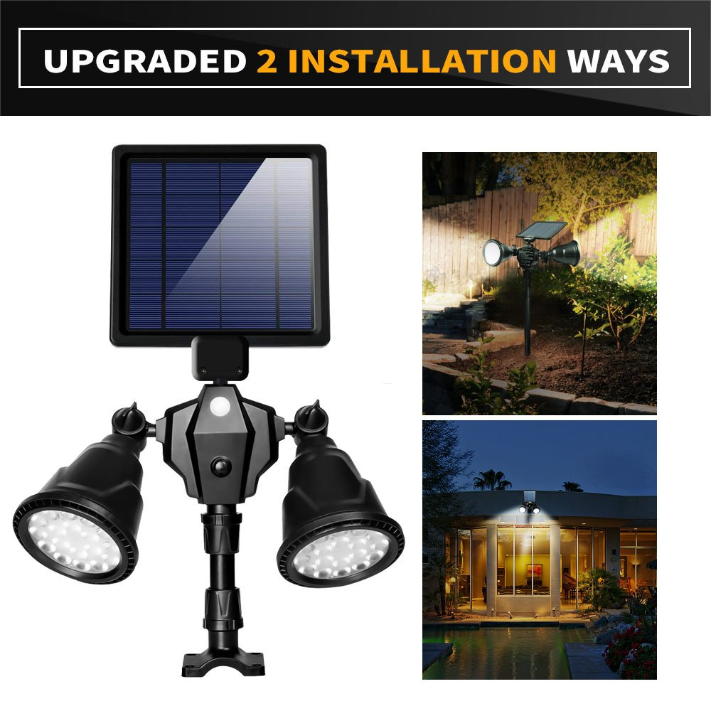 Solar Lights Outdoor, xtf2015 Upgraded Motion Sensor Solar Light Double Spotlights 36 LEDs 1000LM Waterproof Solar Powered Security Lights for Garden Patio Porch Deck Yard Garage Driveway Outside Wall by xtf2015