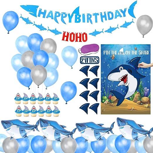 Decoraciones de cumpleaños de tiburones para niños con ...