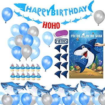 JOYMEMO Shark Birthday Party Decorations for Boys - Pin The Fin on The Shark Party Game, Happy Birthday Felt Banner, Cupcake Toppers and Shark ...
