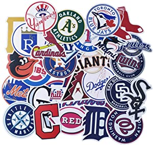 Ratgoo Stickers of MLB All 30 Teams, Vinyl Waterproof Sport Fan Logo Decals of Major League Baseball for Laptop Water Bottles Bicycle Bumper, Gift for Boys Men Baseball Fans Yankees Red Sox Dodgers