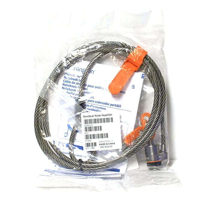 Amazon.com: Genuine G963H 64068F Kensington Dell MicroSaver 6FT Feet Steel Cable T-Bar Notebook Laptop Computer PC Cable Key Keyed Security Lock Compatible ...
