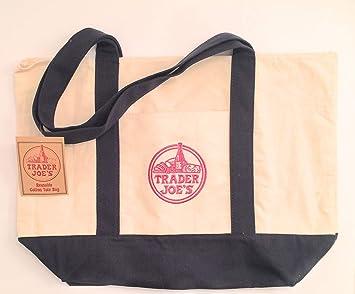 Trader Joe s bolsa de lona de algodón reutilizables bolso de compras playa libro grande: Amazon.es: Hogar