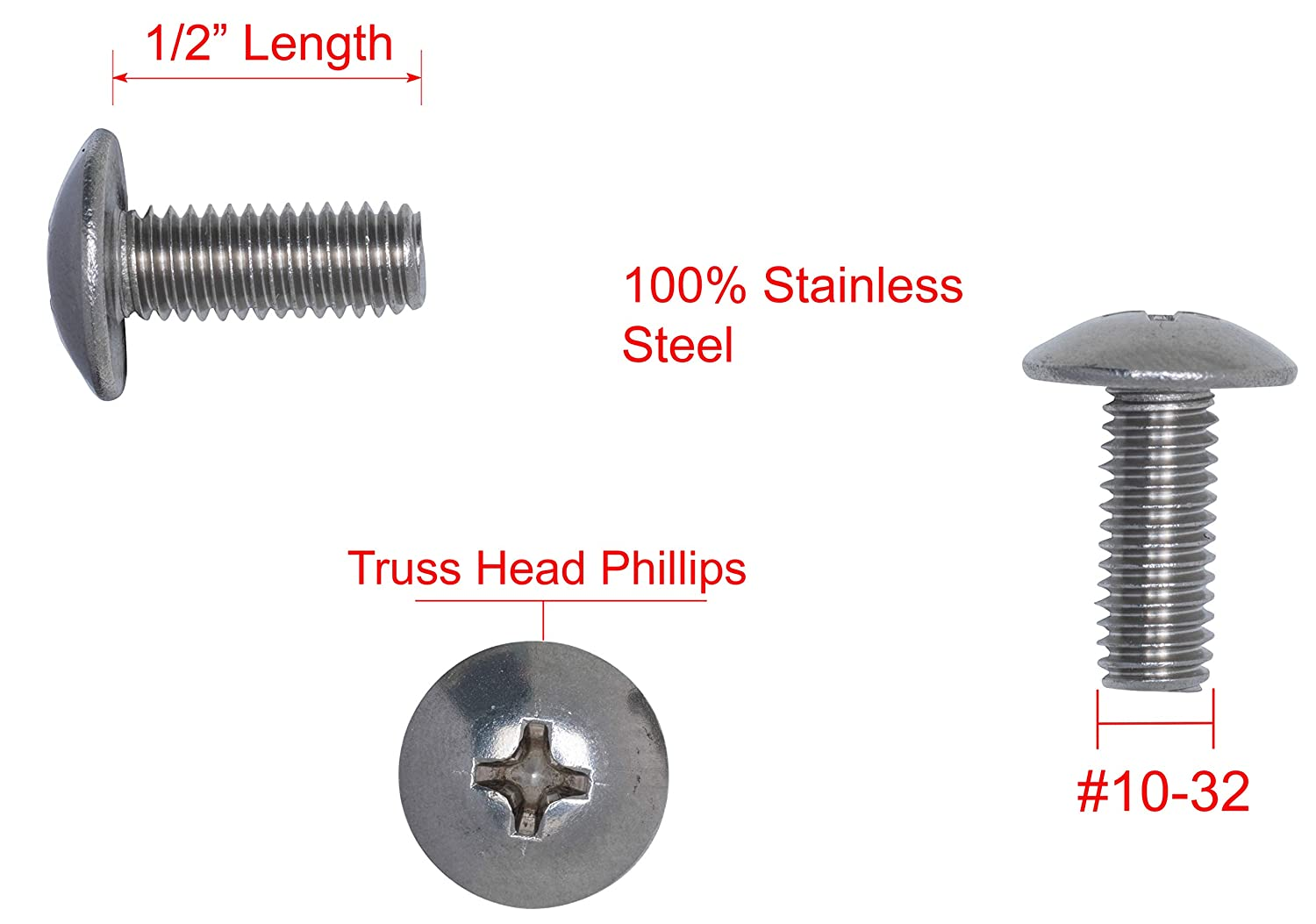 25pc #10-32 X 1-1//4 Stainless Phillips Truss Head Machine Screw, by Bolt Dropper Stainless Steel 304 Fine Thread 18-8