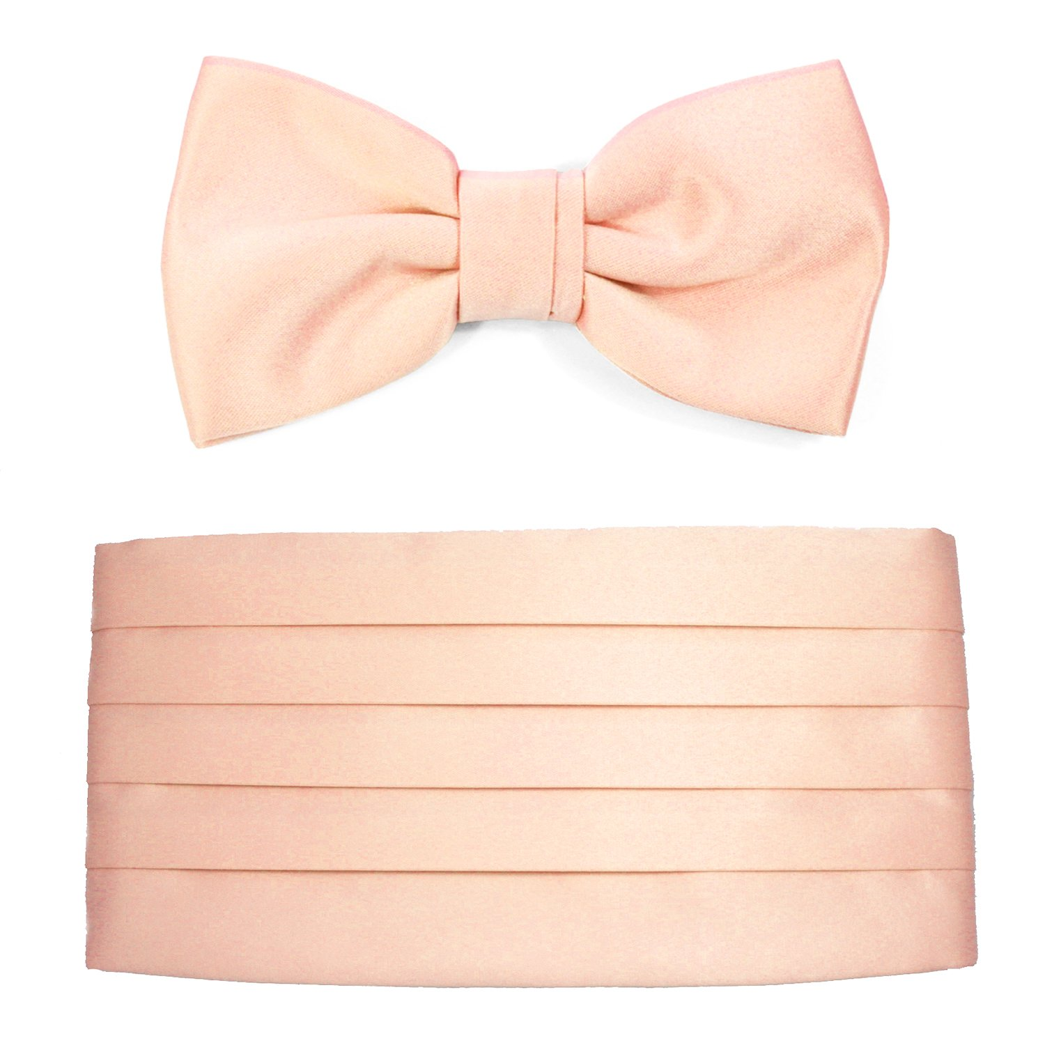 Mens Blush Satin Cummerbund & Bow Tie Set