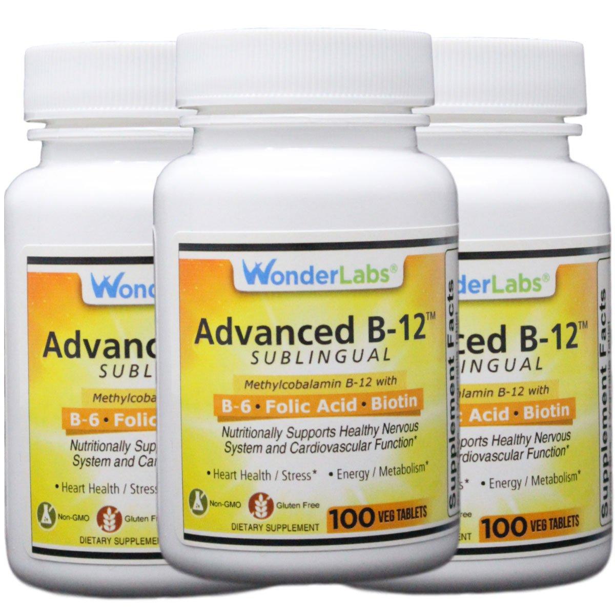 Sublingual Vitamin B12 1000 mcg , B6 5mg , Folic Acid 400 mcg Biotin 25mcg – Formulated with Methylcobalamin Vitamin B-12 3 Bottles of 100 Tablets – 300 Total Tablets