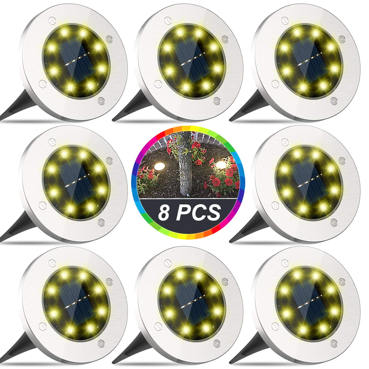 Solar Ground Lights, 8 LED Disk Lights Solar Powered, Outdoor In-Ground Lights, IP65 Waterproof for Landscape, Walkway, Lawn, Steps Decks, Pathway, Yard Driveway, Stairs, Warm White Lights(8 Pack) by Yakalla
