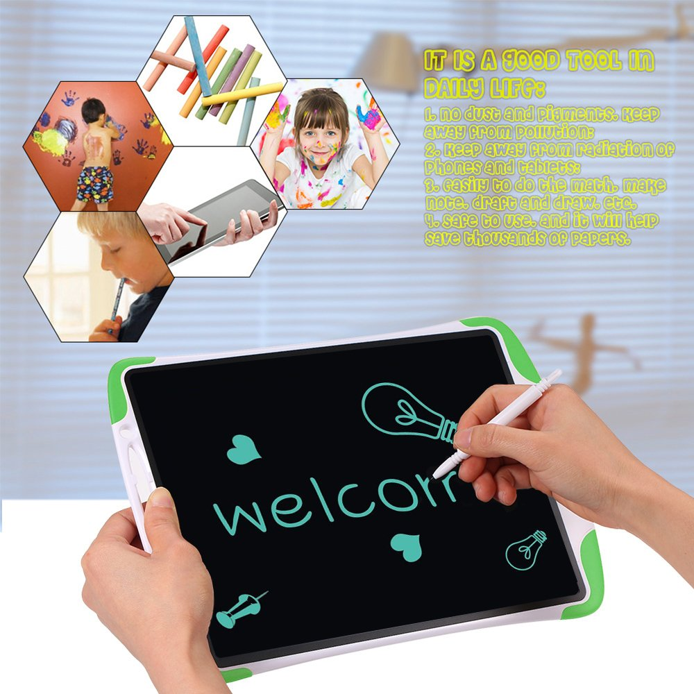 Electronic Tablet Board, Digital Drawing Tablet Handwriting Pads, 10 inch Portable Electronic Tablet Board for Kids, Family, Adult Doodle/Graffiti/E-Writing with Random Stencil (Green) by Dust2Oasis (Image #4)