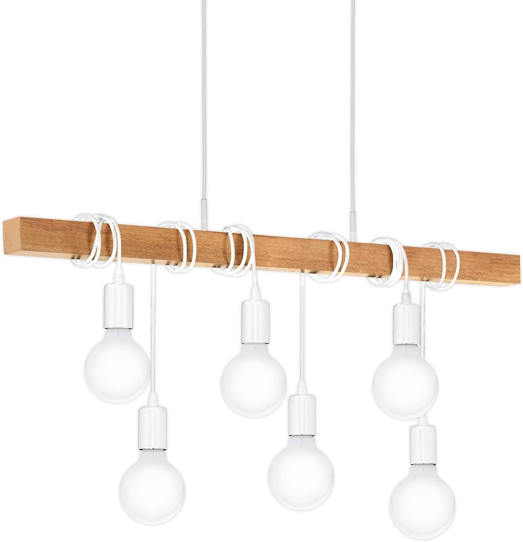 EGLO Pendellampe Townshend, 6 flammige Vintage Pendelleuchte im Industrial Design, Retro Hängelampe aus Stahl und Holz, Farbe: Weiß, braun, Fassung: