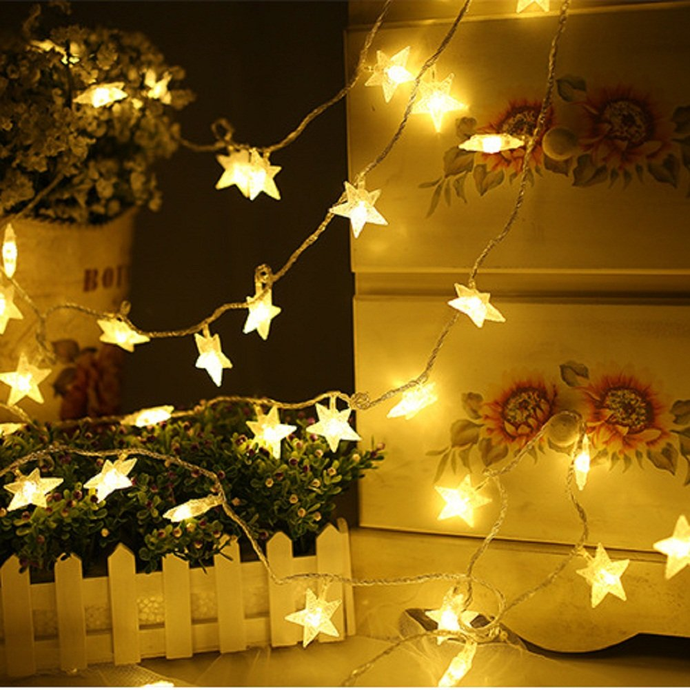 BJYHIYH Battery Powered String Lights 16ft 40 LED Star Fairy Lights Bedroom Christmas Wedding Party Decoration(Warm White) by BJYHIYH (Image #4)