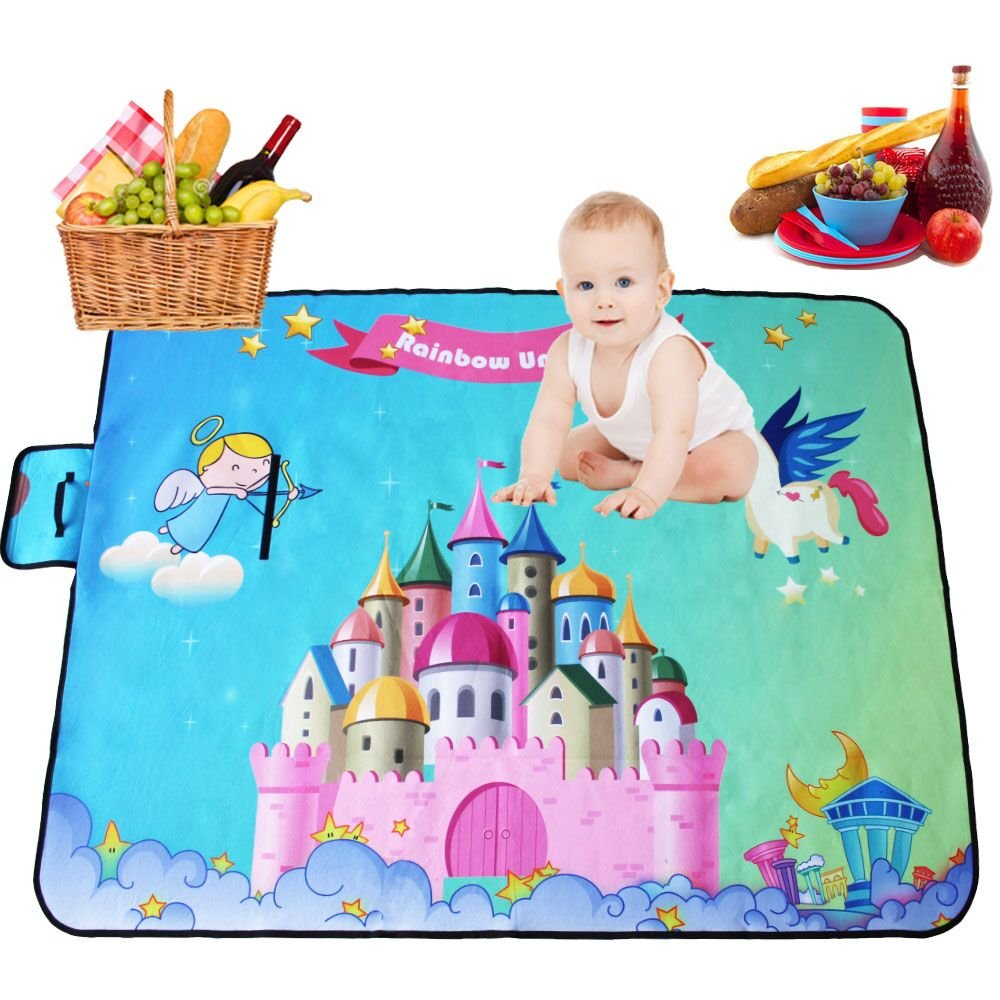 Missley Unicorn Picnic & Outdoor Blanket with Water-Resistant Backing (unicorn)