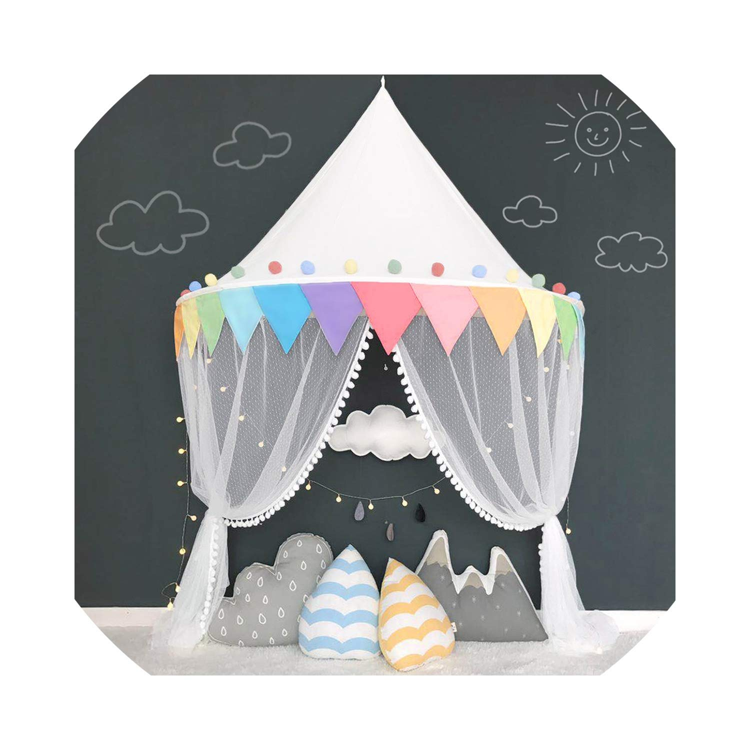 Baby Mosquito Net Bed Canopy Play Tent for Children Kids Play House Canopy Bed Curtain for Bedroom Girl Princess Decoration Room,Rainbow Tent by Alovelycloud bed curtain