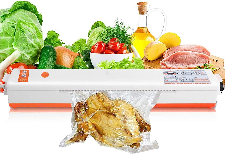MXCELL Vacuum Sealer Machine, Small Automatic Food Sealer for Food Preservation Food Sealing Packaging Machine, Orange