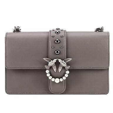 più recente b3643 3255e Pinko Love Grey leather bag 1P2109Y3XUI79: Amazon.de: Bekleidung