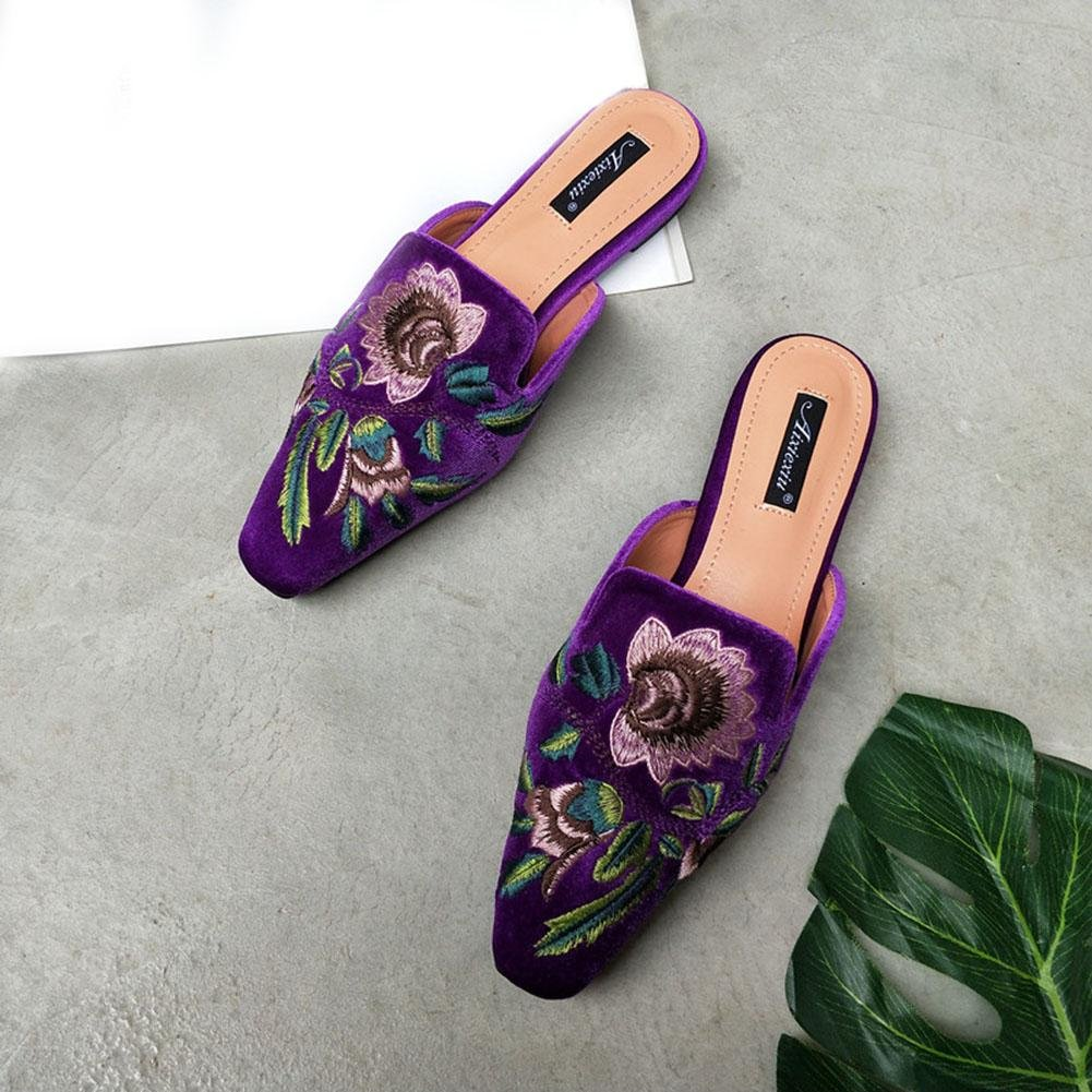 YWNC Square Head Flat Damen Halbschuhe Hausschuhe Summer Fashion Sandalen 2018 New Swan Silk Stickerei  36|purple