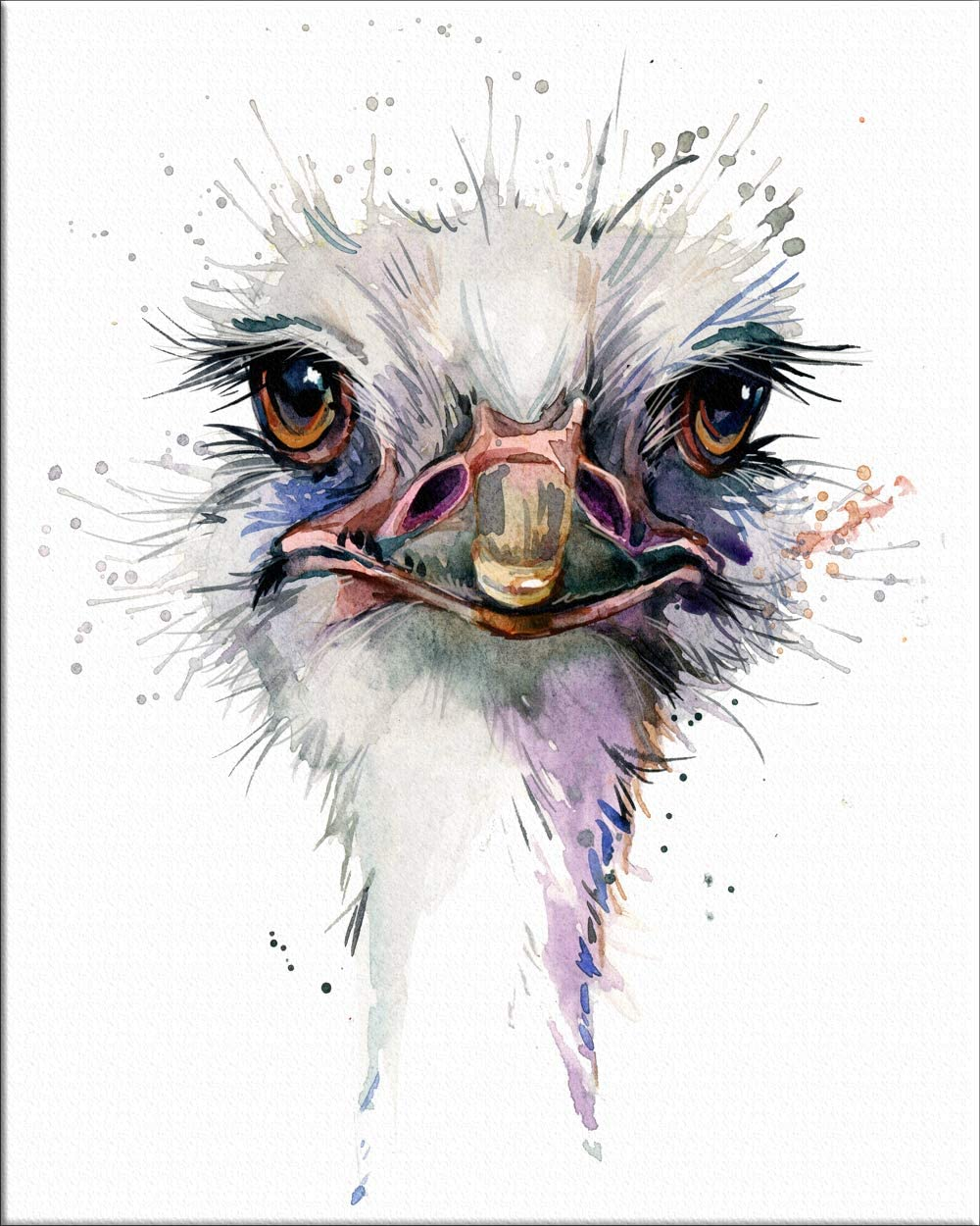 """7Dots Art. Baby Animals. Watercolor Art Print, Poster 8""""x10"""" on Fine Art Thick Watercolor Paper for Childrens Kids Room, Bedroom, Bathroom. Wall Art Decor with Animals for Boys, Girls. (Ostrich)"""