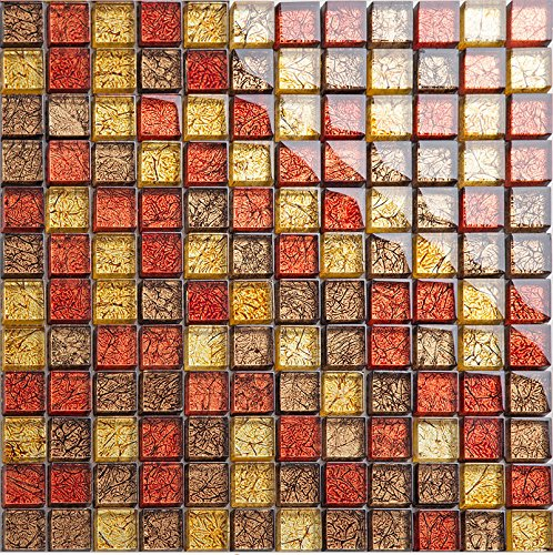 Gold Red foils Glass Mesh-mounted Mosaic Tile Sheet for Kitchen Backsplash Bathroom Wall and Swimming Pool 12 In. X 12 In. LSJB02 (11PCS (Swimming Pool Glass Tile)