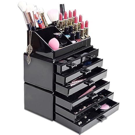 HBF Acrílico Negro Organizador De Maquillaje Multifuncional Organizadores para Cosméticos Caja para Organizar Pincel De Maquillaje