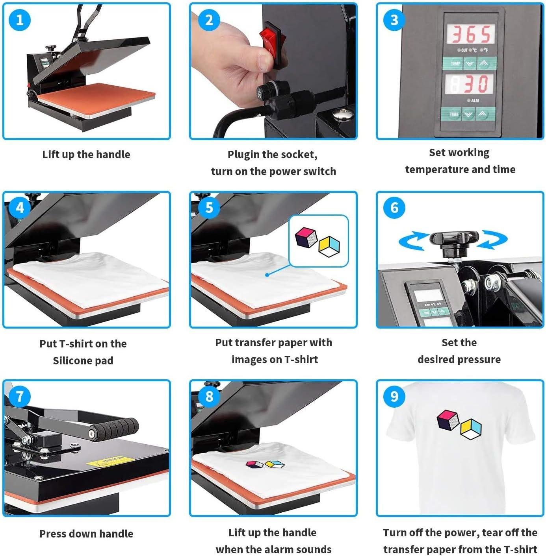 Plate Press Furgle Heat Press Machine 12x15 inch 5 in 1 T-Shirt Digital Printing Transfer Sublimation Machine 1050W with Clothes Hat//Cap Mug