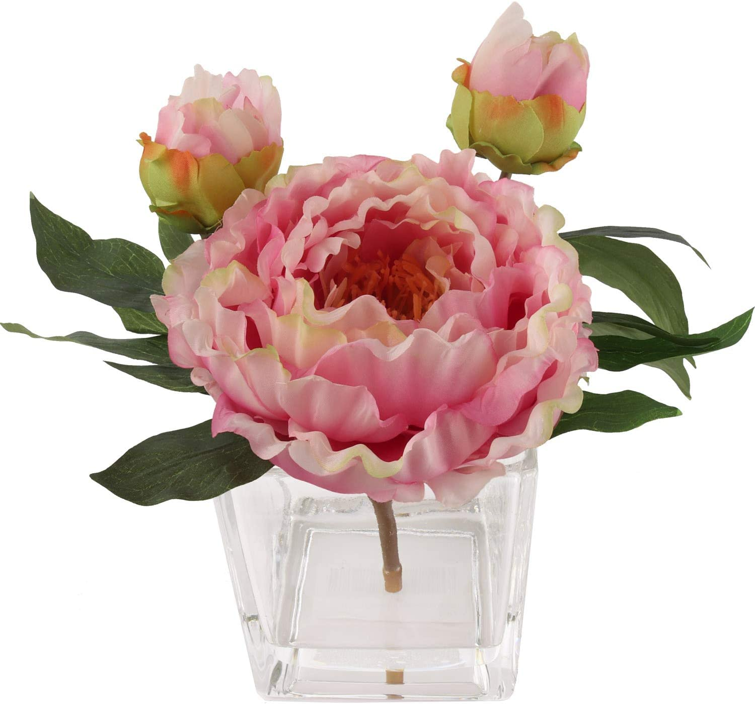 Handcrafted Artificial Peony Silk Flower Arrangement in Vase | Real Look Mauve Silk Perennial Peonies | Layers of Soft Rose-Color Petals in Hues of Mauve and Pink Petals for a Beautiful, Natural Look