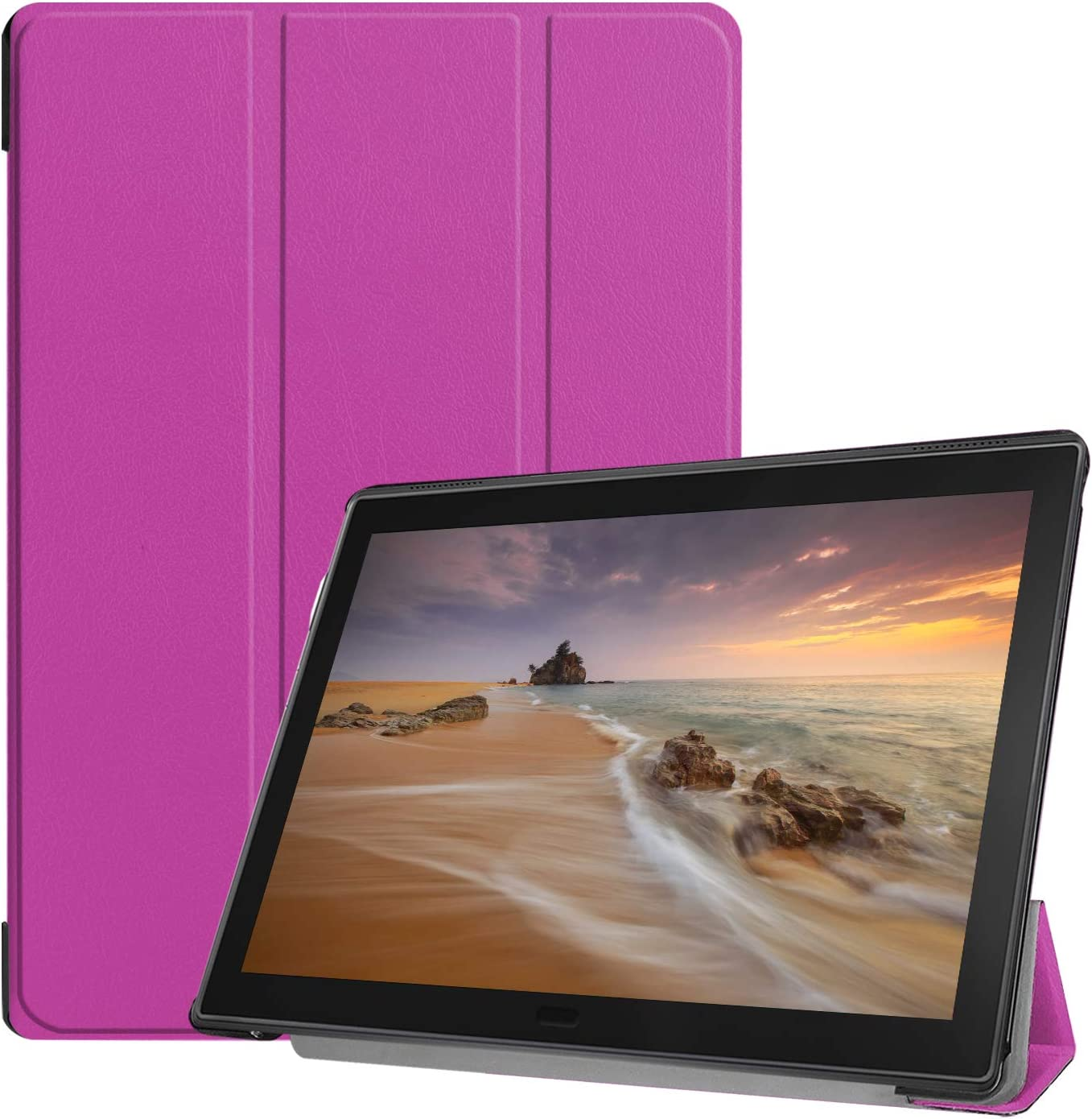 Epicgadget Case for Lenovo Tab E10 (TB-X104F), Slim Lightweight Tri fold Stand Cover Case for Lenovo Tablet 2018 Tab E 10 10.1 Inch Display (Purple)