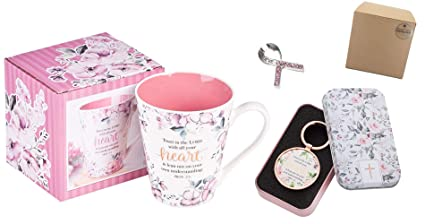 Christian Cancer Patient Gift for Women | Inspirational Mug, Key Ring and  Pocket Token Set in Box