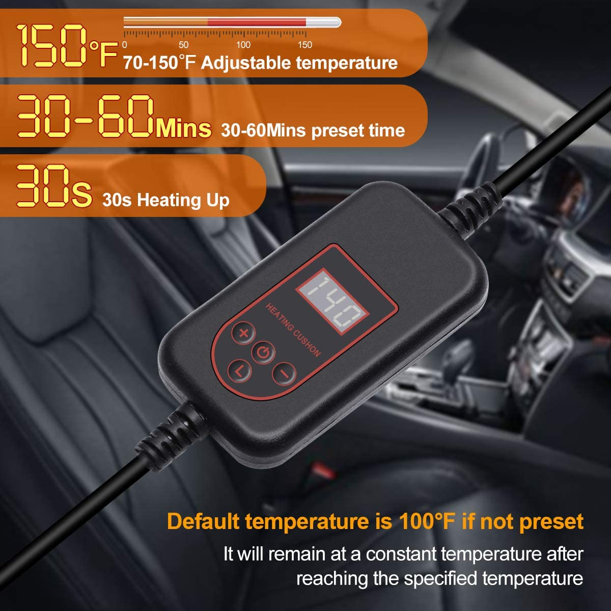 2019 Winter Universal Car Seat Heater for Full Back and Seat Audew Heated Car Seat Cushion DC 12V Heated Car Seat Cover with Intelligent Temperature Controller /& Timer Setting