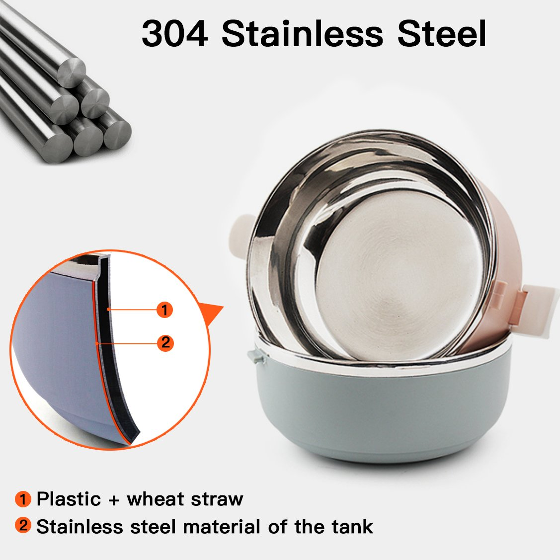 Spill Proof Dog Cat Travel Bowl Portable 304 Stainless Steel Multiple Layers Pet Water Food Storage Container with Invisible Handle for Pet Outdoor Traveling Raised Feeding (4 Layer) by YOUTHINK (Image #3)
