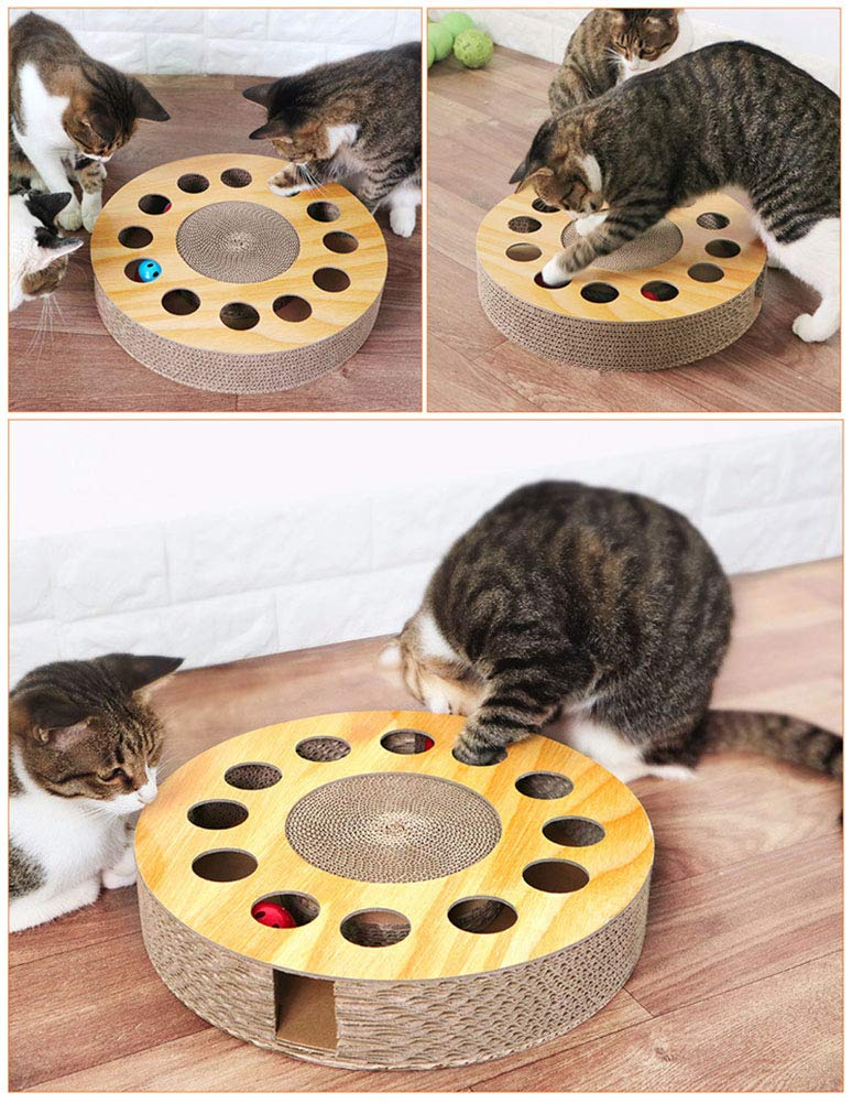 MIAOXSEN Cat Toy with Sturdy Scratching Pads and 2 Jingly Balls for All Ages of Cats