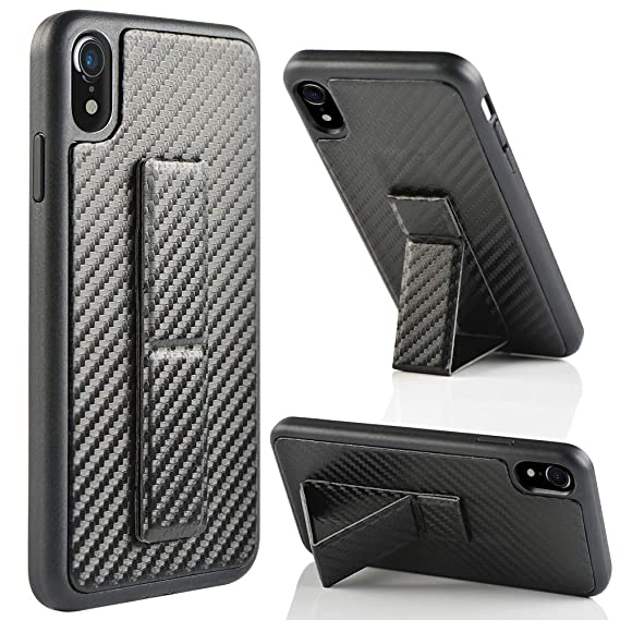 separation shoes eb125 0466f iPhone XR Case, iPhone XR Case with Stand, ZVEdeng Protective Vertical and  Horizontal Kickstand Hand Strap Foldable Stand Carbon Fiber Texture Slim ...