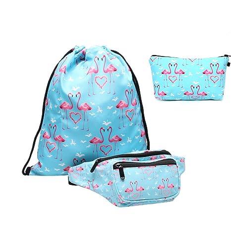 Riñonera set Giddah - Bolsa de Deporte con riñonera para niña, riñonera para tavelling, Color Flamingos,para el Paquete de la Cintura del Viaje ...
