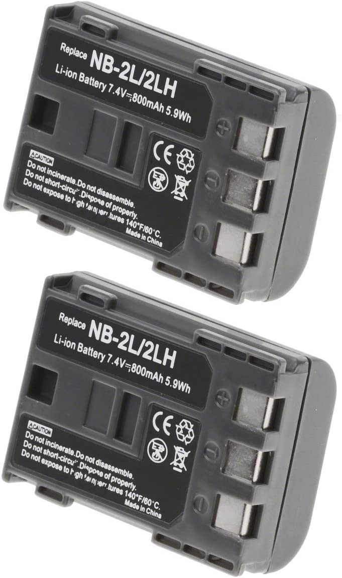 Olympia Battery Brand Canon NB-2LH Battery for Canon Camera /& Video Camera 2 Pack of Canon Optura 60 Battery