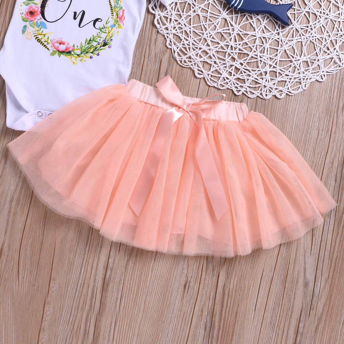 Peach Pink Bowtie Tulle Skirt Outfits Autumn My First Birthday Baby Girl Clothes One Flower Romper