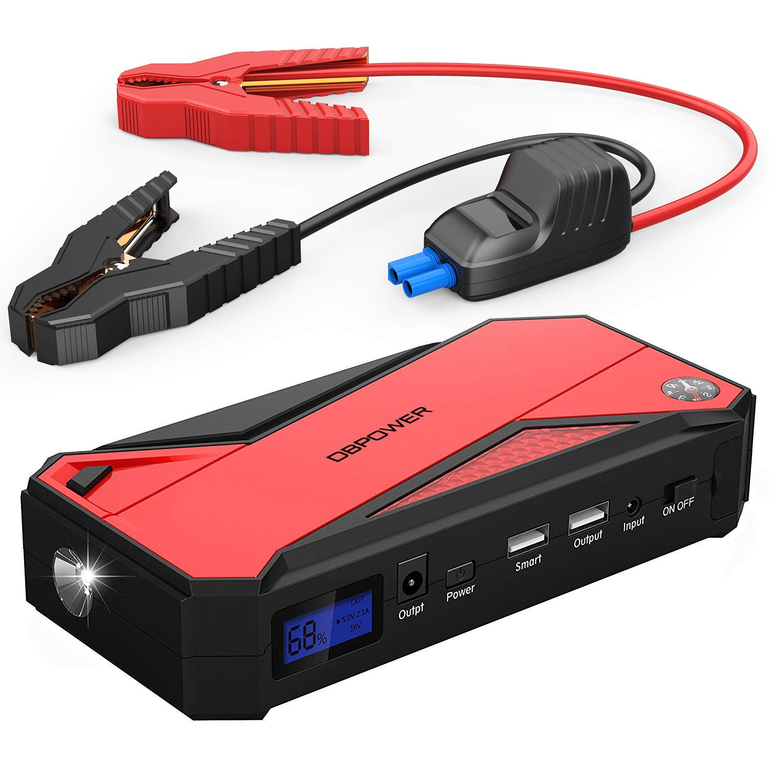 DBPOWER 600A Peak 18000mAh Portable Car Jump Starter (up to 6.5L Gas/5.2L Diesel Engine) Portable Battery Booster with Smart Charging Port, Compass, LCD Screen & LED Flashlight (Red) by DBPOWER