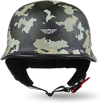"61-62cm Moto Helmets/® D33 /""Army Woods/"" /· Brain-Cap /· Halbschale Jet-Helm Motorrad-Helm Roller-Helm Scooter-Helm Bobber /· Schnellverschluss Tasche XL"