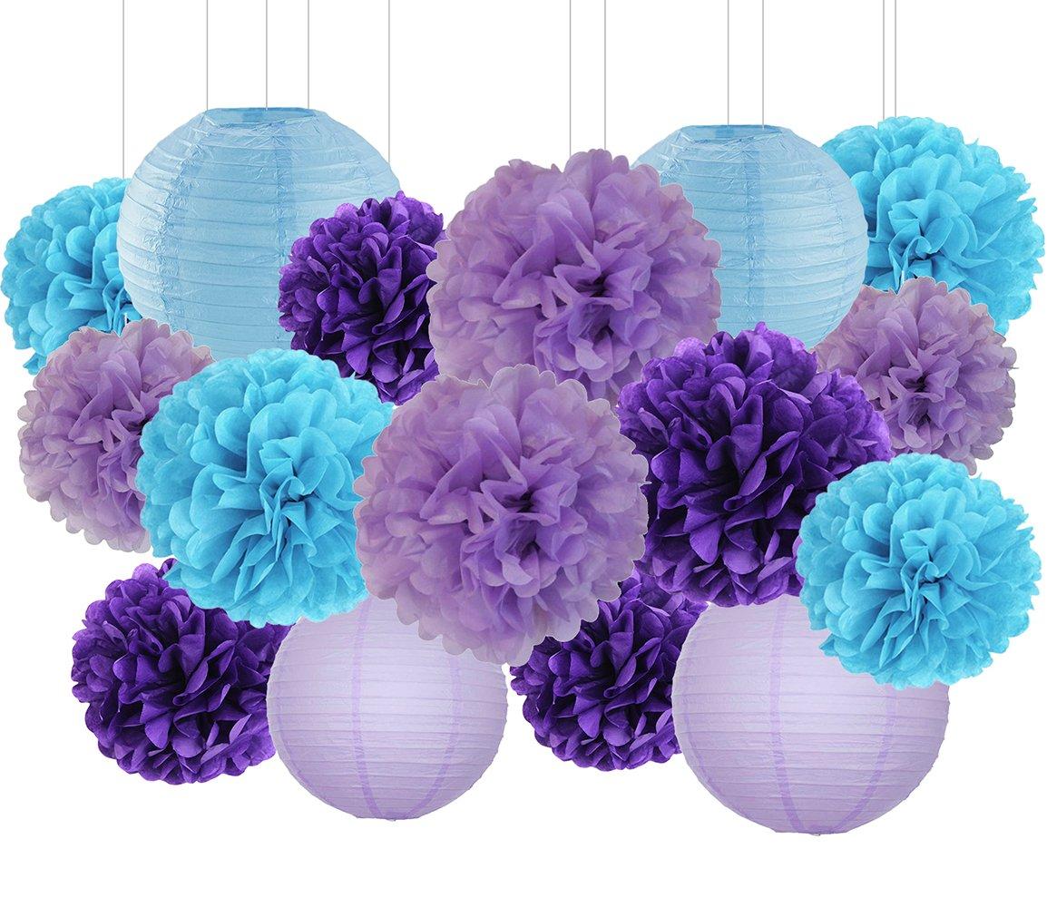 Mermaid Party Decorations Wedding Party Decorations Purple Lavender Turquoise Blue Tissue Paper Pom Poms Flowers Paper Flower Balls Paper Lanterns Boys Birthday Party Decoration Kit